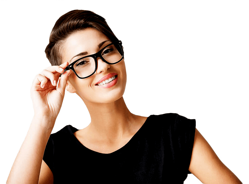 Woman Smiling While Holding Her Glasses